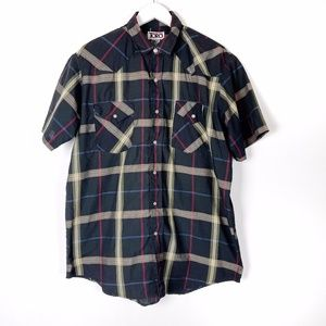 Vintage Men's Western Black Button Down Shirt